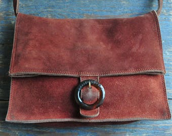 Vintage suede leather fold over bag, Italian Fendissime Fendy leather purse, vintage leather folder bag, Karl Lagerfeld fashion