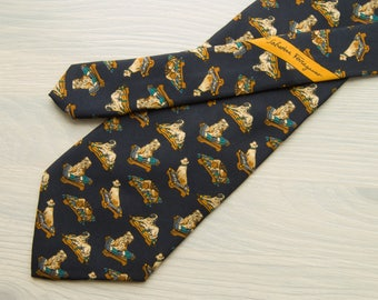 Salvatore Ferragamo tie. Vintage necktie with cute dogs. Navy blue. 100% silk. Excellent condition. Worldwide free delivery!