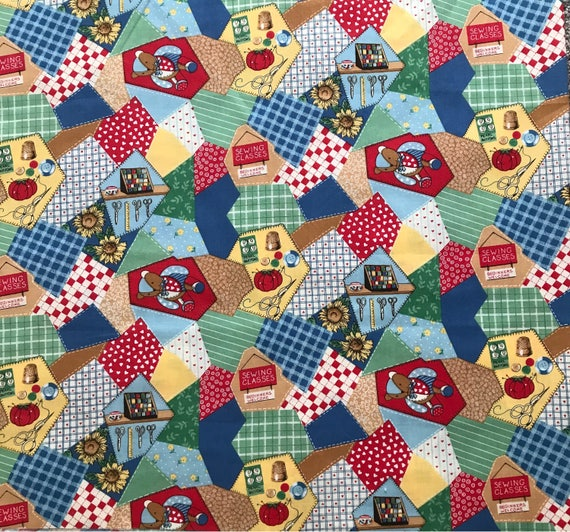 Sewing themed fabric sewing notions cotton quilt table for Space themed fabric