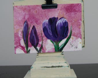 First Flowers – Crocus – Acrylic – An ACEO Original
