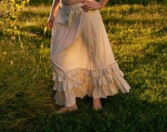 Prairie Dusk Petticoat - Choose Your Size - Cream 100% Cotton Muslin Skirt - Ruffles Ruffled - Adult / Women's - Handmade in Kansas