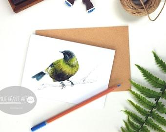 Bellbird - Korimako bird,  folded card from the New Zealand native birds series by Emilie Geant, from original watercolor painting