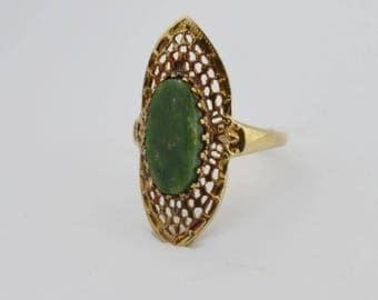 10k Yellow Gold Vintage Filigree Jade Ring Size 7.5(02551)