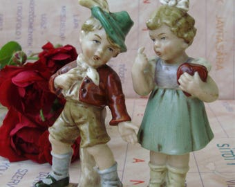 Vintage  WAGNER&APPEL porcelain chidren figurine,little boy and girl stamped,handpainted