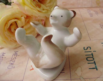 Vintage HUNGARIAN Drasche porcelain animal  figurine,playing bear ,handpainted stamped
