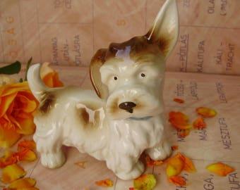 Vintage German dog figurine ,puppy,terrier,handpainted,фарфоровая статуэтка