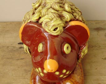 Large, vintage ceramic figurine,lion