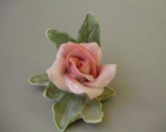 Vintage,German Karl Ens Porcelain,flower figurine,pink rose