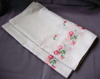 """Large,Unused,Lovely,Vintage,Hungarian embroidered curtain,flower pattern Cottage/Shabby Chic, 120""""Long"""