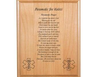 """Personalized Engraved_8""""x10""""_EMT / Paramedic_Prayer Plaque_EMS"""