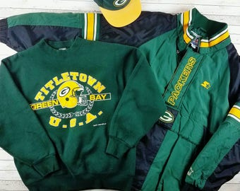 Packers Pack Vintage 90s Green Bay Packers Starter Jacket, Sweatshirt, & Snapback Hat Bundle For Fans of The Pack or Vintage Starter Jackets