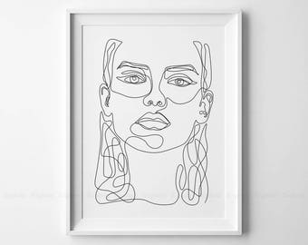 Line Drawing Female : Line drawing print etsy