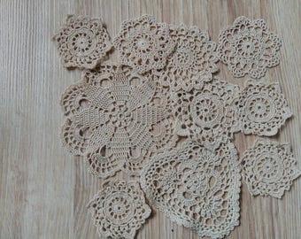 Set Of10 Crocheted Doilies Crochet Medallions Assortment Mini Doily Boho Crafts Flower Dream Catcher Decorative Tea Time Coasters Home Decor