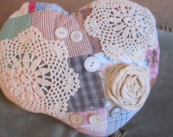 Heart Pillow/  Made Of Vintage Quilt