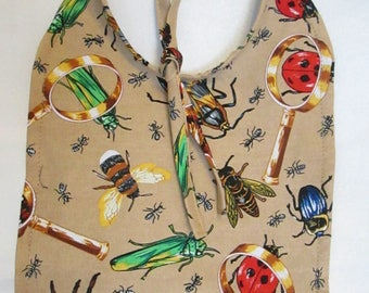 Bugs! Beetles! Bees! Ants! Crickets! Spiders! Ladybugs! Magnifying Glass! Baby Bib! 100% Cotton. Handmade! Brown Paisley Backing.
