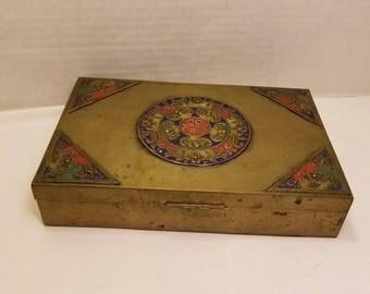 Antique Chinese Metal Enamel Trinket Box