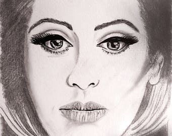Adele Art, Drawing, Sketch, Celebrity Fan Art, Pencil Drawing, Gift, Birthday