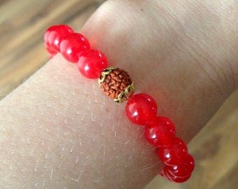Kali Ma | Goddess of transformation. Red jade | Rudraksha bracelet | Yoga jewelry | Yoga jewelry