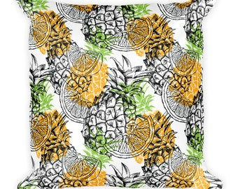 Pineapples and Oranges Throw Pillow