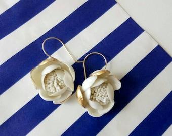 Golden porcelain earrings, 24 k gold hand made hooks
