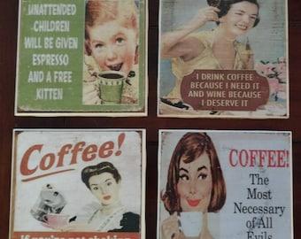 Funny Old Fashion Coffee Coasters