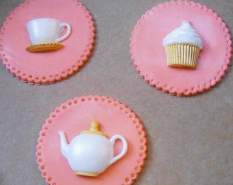 Fondant Tea Party Toppers, Tea Party Cupcake Toppers, Tea Party