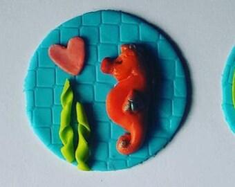 Seahorse Fondant Topper, Under the Sea Party Cupcakes, Ocean Theme Party Cupcake