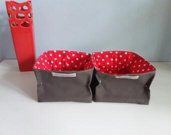 Empty square basket Pocket square red grey veronpiotcreation organization storage