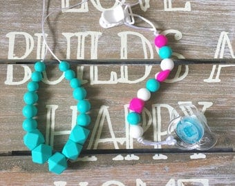 Silicone Teething Necklace & Pacifier Clip, Chew Jewelry, Bite Beads