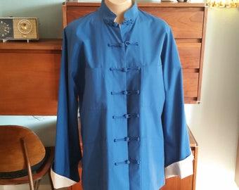 60s Blue Asian Inspired Jacket. Long Sleeves. Size Medium Large