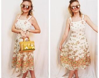 60s White Dress. 1960s Cream White Floral Summer Dress.  Sun Dress. Play Dress. Sleeveless. Straps. Midi Length. Size Small