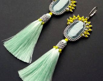 Mint with Lemon Earrings with Big Glass Beads