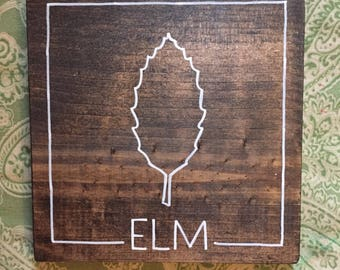 elm leaf wood sign