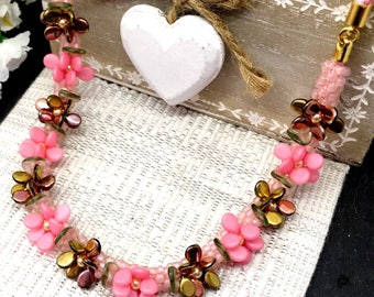 Peony Floral necklace, beaded flowers, Kumihimo
