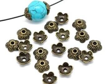 20 pearls flower 5 petals color Bronze 10 x 4 mm