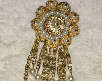 Vintage Signed West Germany Gold Tone and Faux Pearl Brooch Pin