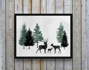 Deer, deer print, watercolor, deer family, woodland, woods, wildlife,stag, Canadian, decor, Green, gray, Printable, digital, nursery art,