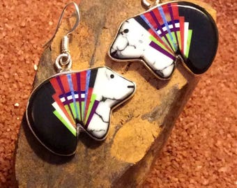 Native American Jewlery, Zuni Bear Earrings made with White Turquoise, Black Onyx, Mother of Pearl and Red Coral