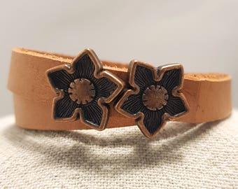 Leather bracelet; Tan leather bracelet; Leather choker;  Flat leather bracelet; Wrap leather bracelet;  Flower bracelet
