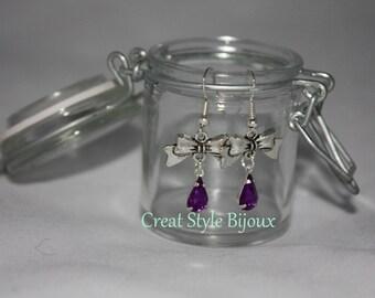 very pretty stone earring purple