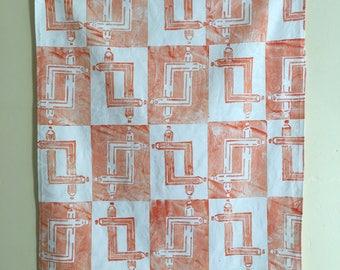 Tea Towel, Orange Carpenters Pencil, Design no.15