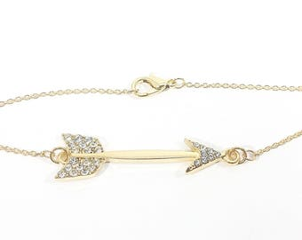Aim Your Golden Arrow~ Handmade Chain Bracelet~ Gold Plated Cable Chain & Lobster Clasp~ Rhinestone Arrow Connector