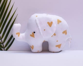 Baby elephant softie white linen/gold hearts