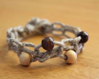 Hemp Macrame Bracelet with Wood Beads - Inexpensive Gift for Her - Comfortable Fit Jewelry - Neutral Colors