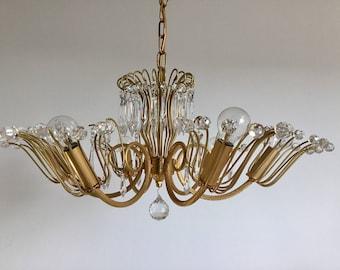 Chandelier Brass Crystal Faustig munich mid century Modern