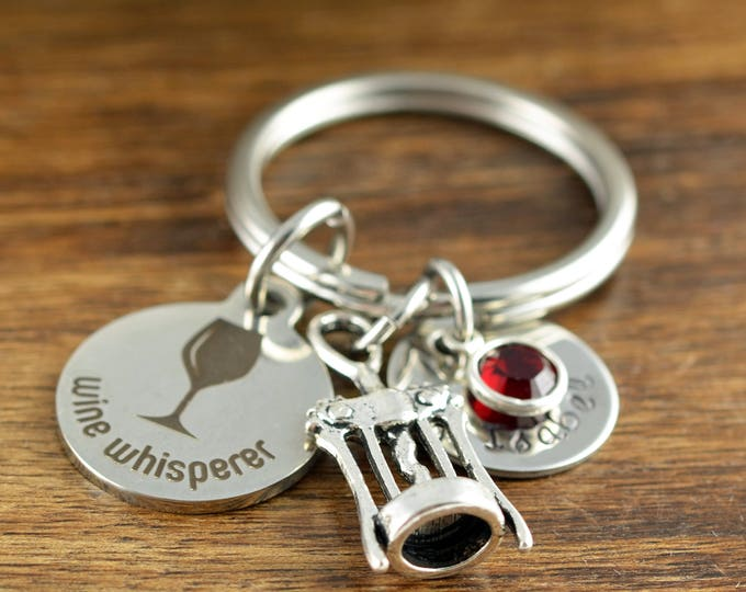 Wine Whisperer - Wine Lover Gift - Wine Lover Gifts for Women - Gift for Her -  Engraved Keychaint - Personalized Keychain