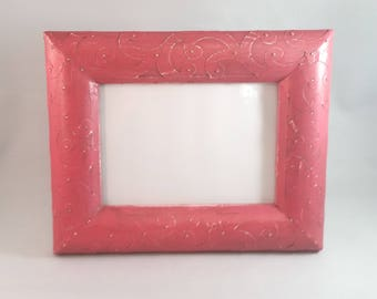 Unique Watermelon Pink Picture Frame; 5x7 Photo Frame
