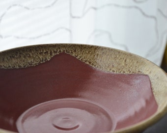 Earthy Red and Yellow Large Serving Bowl