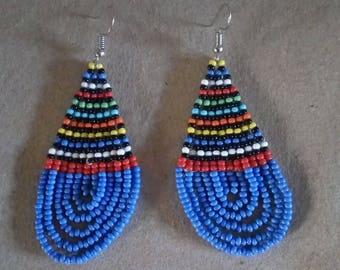 African Maasai Beaded Earrings   Sky Blue Beaded Earrings   Dangle Earrings   Tribal Earrings   Elegant Earrings   Gift For Her