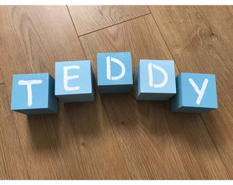 Wooden letter blocks, baby blocks, nursery decor, personalised blocks, painted name blocks, alphabet blocks, name blocks